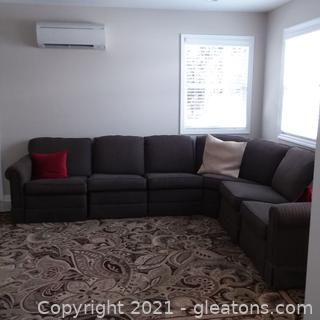 Dark Gray La-Z-Boy Classics 6 Piece Sectional Sofa (located in cottage 1)