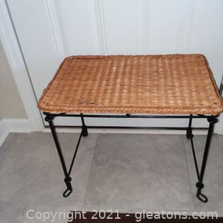Wicker and Iron Vanity Stool (located in Cottage 1)