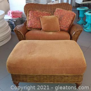 Oversized Wicker Chair With Ottoman by Excursions (located in Event Center)