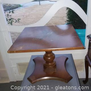 Small Pedestal Table with Hand-Painted Top (located in Event Center)