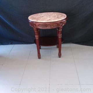 Oval 2 Tier Marble Top Side Table  (located in Event Center)