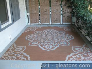 Large Woven Indoor/Outdoor Porch Rug Peach/White (located in Event Center)