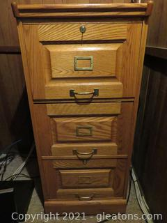 Three Drawer, Wooden File Cabinet (located in house)
