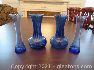 Four Beautiful Blue Glass Vases (located in Event Center)