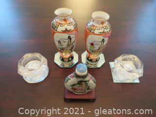 Lot of Three Asian Bottles and Two Glass Salt Cellars(located in Event Center)