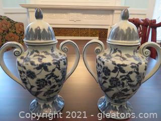 Two Delft Blue Urns with Two Handles (located in Event Center)