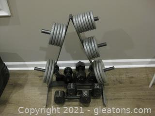 Dumbells, Dumbell Plates with Rack