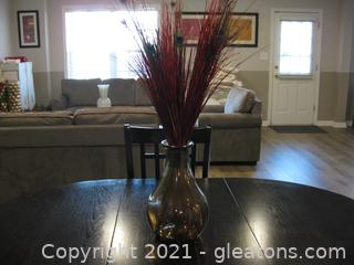 Modern Glass Centerpiece with Reeds and Peacock Feathers