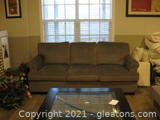 Pier 1 Poly/Cotton 3-Seater Rolled Arm Sofa –Like New
