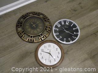 Trio of Wall Clocks