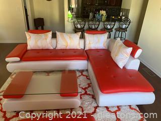 "Contemporary ""L"" Shape Leather Sofa"