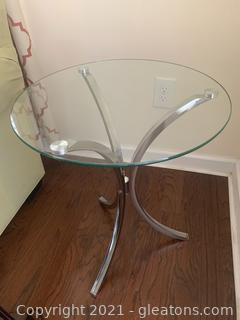 Round Glass Table W/Chrome Accent
