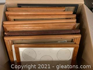 Lot of 13 Various Wood Frames, Sizes + Color