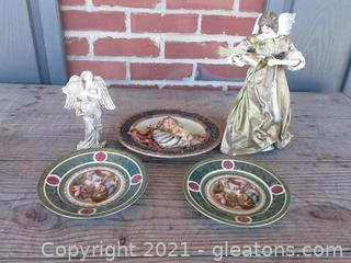 Paper Mache Angel. Resin Angel, Porcelain Plates [Salomon Sacrifiant aux idoles]  and Resin Plate [Madonna & Child]