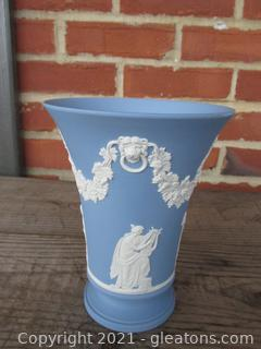 vintage Wedgwood Jasperware Blue Trumpet Vase  / 6 inches tall