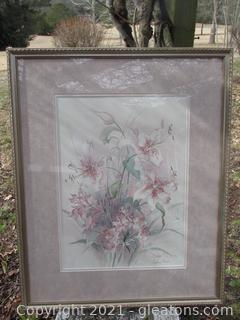 Framed Daylily Print signed Barbara Mock 1986