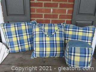 Pop of Color with Riverdale Decorative Products 4 Denim and Yellow Buffalo Plaid Pillows