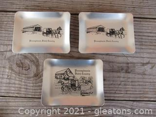 "3 Vintage Utility Pin Trays New in Boxes ""Pennsylvania Dutch Country"" Made in U.S.A. / 5 inches long by 3 3/4 inches tall Made By Alumaline"