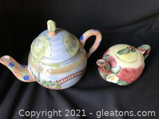 Two spring time tea pots