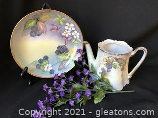 Hand painted dish and tea pot