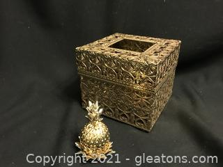 Vintage gold filagree tissue box, Lenox pineapple hinged box