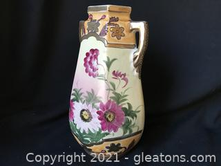 "Hand painted 10"" vase gold trim"
