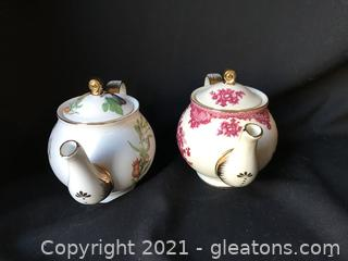 2 Bristol House porcelain tea pots trimmed in Gold
