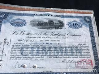 3 vintage railroad stock certificates