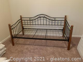 Beautiful Oak and Iron Twin Daybed with Metal Mattress Frame and Mattress