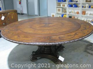 Beautiful Chinoiserie Style Wooden Expandable Round Pedestal Dining Table