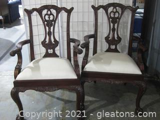 Pair of Maitland –Smith Dining Mahogany Chippendale Arm Chairs