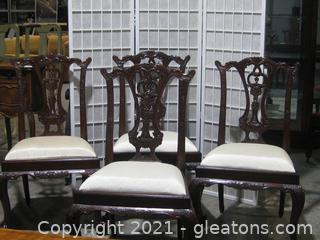 4 Maitland-Smith Chippendale Mahogany Dining Chairs