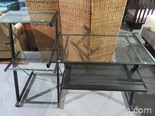 Metal Computer Desk with Keyboard Tray and Glass Top and 3 Glass Shelves