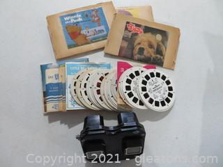 Viewmaster (Black) and Lot of Approximately 50 Reels