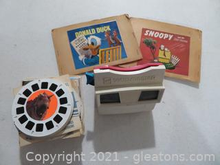 Red and White Viewmaster and Lot of Approximately 50 Reels