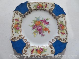 Rare Circa 1940s Gold Castlle China Mad ein Japan. Blue Floral .Lot of 6 Salad Plates