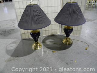 Blue Urn Style Table Lamps with Brass Look Base and Blue Shades (2)
