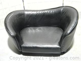 Luxury Black Faux Leather Pet Bed Dog Sofa