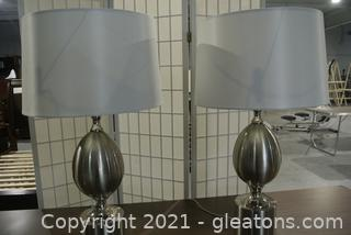 2 Contemporary Silver Table Lamps