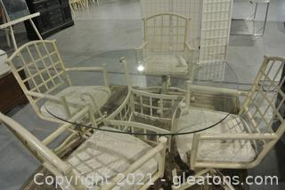 Douglas Furniture Glass Top Table With 4 Swivel/Rolling Chairs.