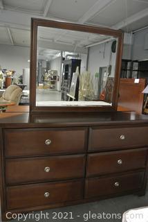 Cherry Finish 6 Drawer Dresser with Mirror (B)