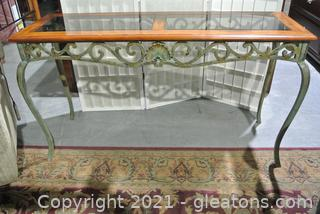 Wood, Metal & Glass Console Table