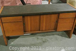Wood Credenza With Laminate Top