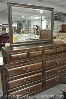 Wood Frame 10 Drawer Dresser with Mirror