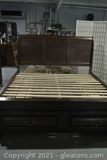 Beautiful King Size Cherry Sleigh Bed with Storage - Mill Valley II Collection