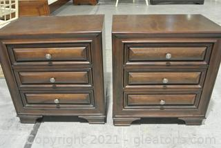 Pair of 3 Drawer Cherry Wood Night Stands - Mill Valley II Collection