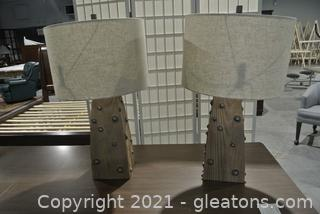 Lot of 2 Table Lamps W/Linen Drum Shades