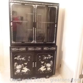 Beautiful Asian Black Lacquer Mother of Pearl Breakfront China Cabinet