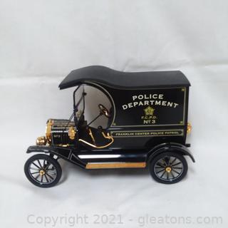 Pristine Franklin Mint Ford Model T  Police Wagon- Accented in 24 Carat Gold –Has Wood and  Glass Display Case