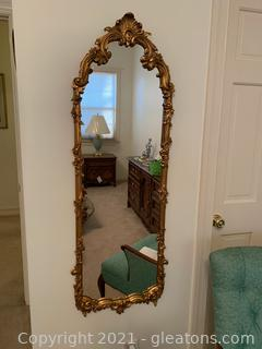 Ornate Flower and Leaf Vintage Gold Mirror